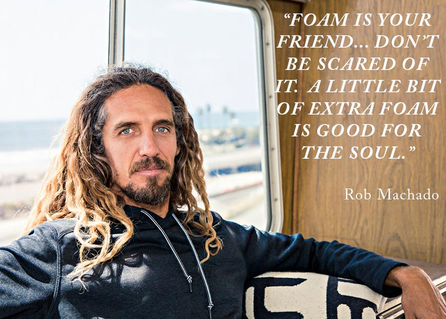 Rob Machado quote - visual of Rob sitting in a surf van